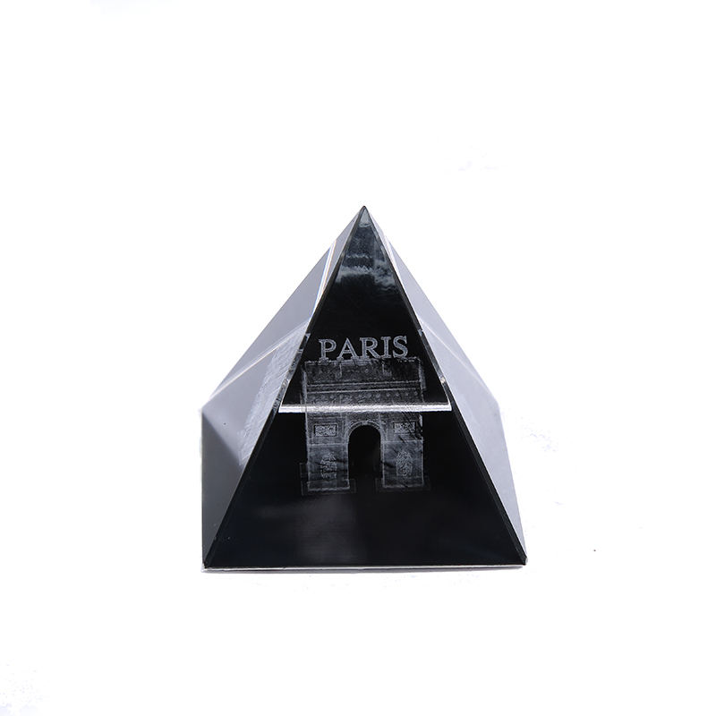CJ-Custom Triangle Polished K9 3D Lase Engraved Crystal Egypt Pyramid Prism Paperweight