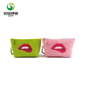 custom logo pvc lip stick cosmetic bag pouch makeup purse for girls