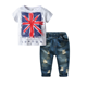 19B487 Children Garment Supplier Wholesale Hot Sale 2 pcs Boys Clothes Set 100% Cotton High Quality Clothes