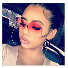 Mocoo 2021 Brand Designer Newest Fashion Rimless Bend Leg Trendy Colorful Lens Women Sun Glasses Oversize Shades Sunglasses 2020