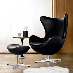 Cheap modern adult size home furniture swivel metal black leather pod egg chair