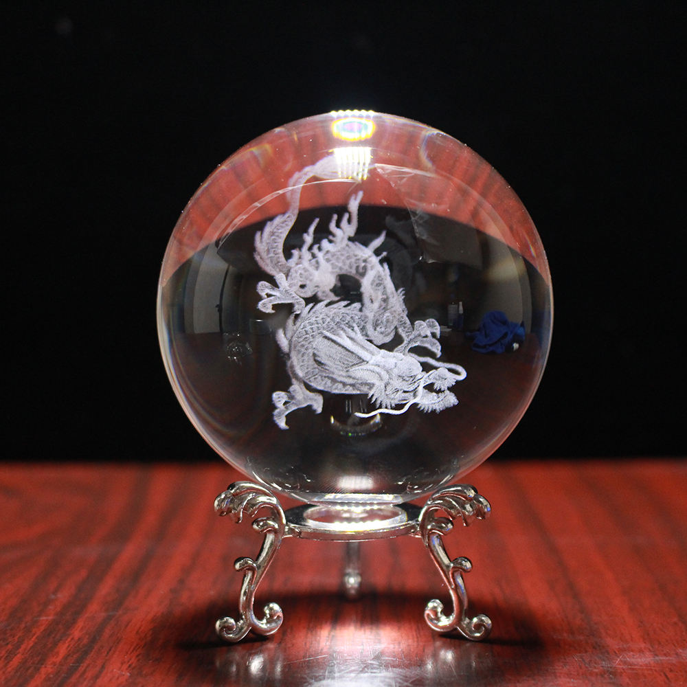 Crystal Dragon Ball 3D Laser Engrave Specimens Creative Feng Shui Glass Ball Globe Wedding Crystal Gift