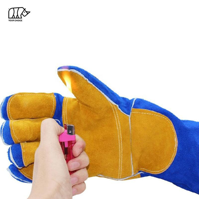 Yellow Blue 16 Inch Sturdy Heat Resistant Fire Resistant Premium Cow Split Leather TIG Welding Gloves