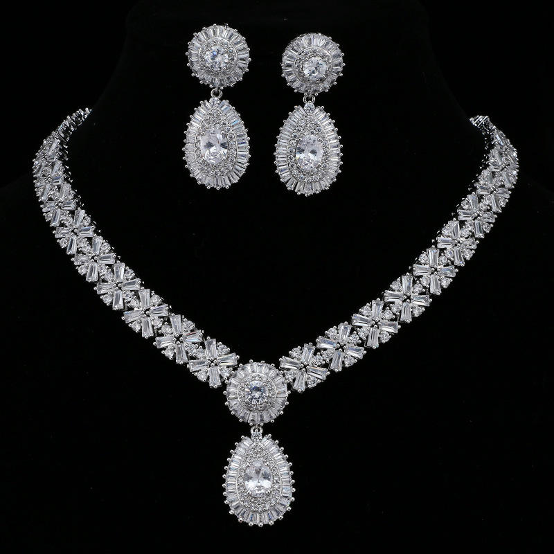 Sparkling vintage bridal Zircon necklace earrings set for women jewelry set for weddings