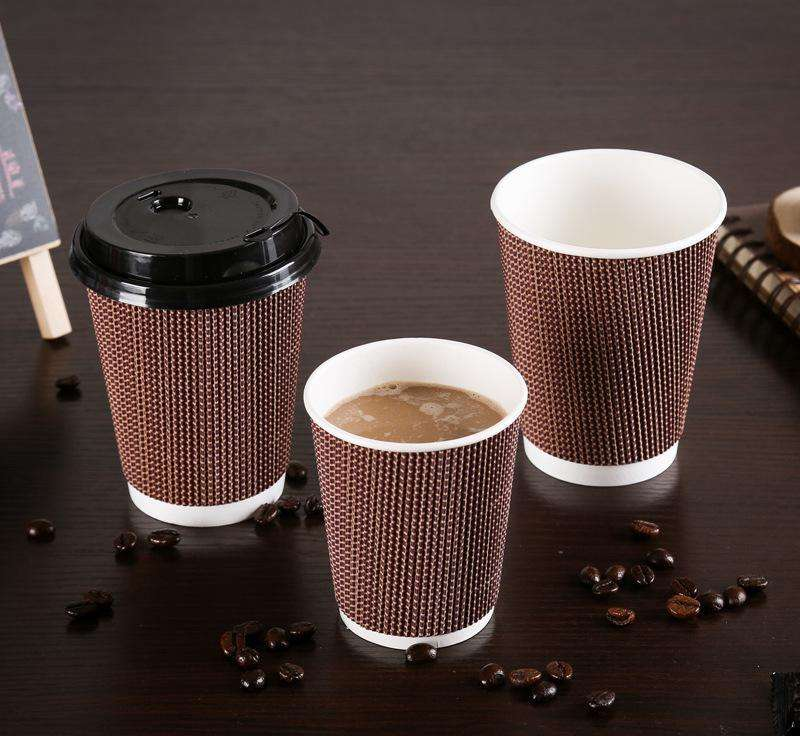 16oz 12oz compostable biodegradable disposable Eco-friendly three wall PLA PE ripple paper coffee cups with lid beverage milktea