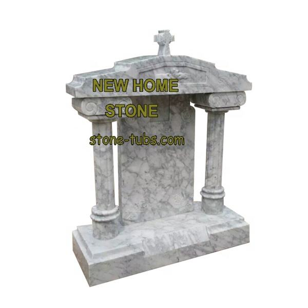 Natural Stone tomb headstone Tombstone Carrara White Marble Grave Monument gravestone