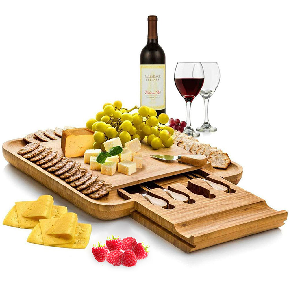 Food Grade Wholesale Large Square Natural Wood Bamboo Cheese Board and Knife Set Cheese Board with Knife Cutlery Set