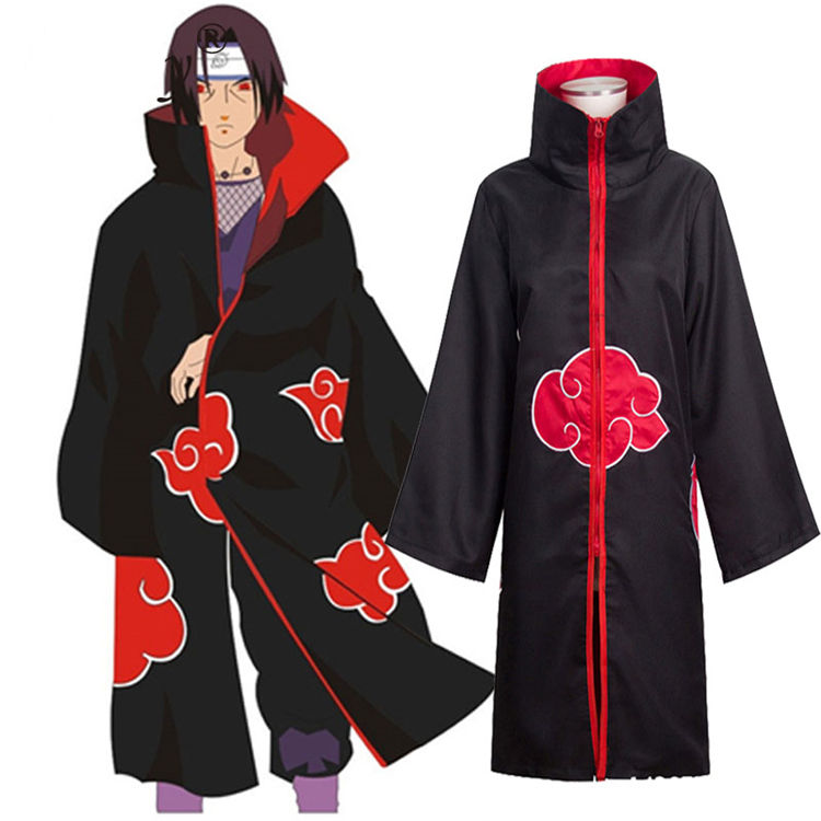 Hot Sale Anime Naruto Cloak Akatsuki /Uchiha Itachi Cosplay Costume Halloween Christmas Party Costume Cloak Cape