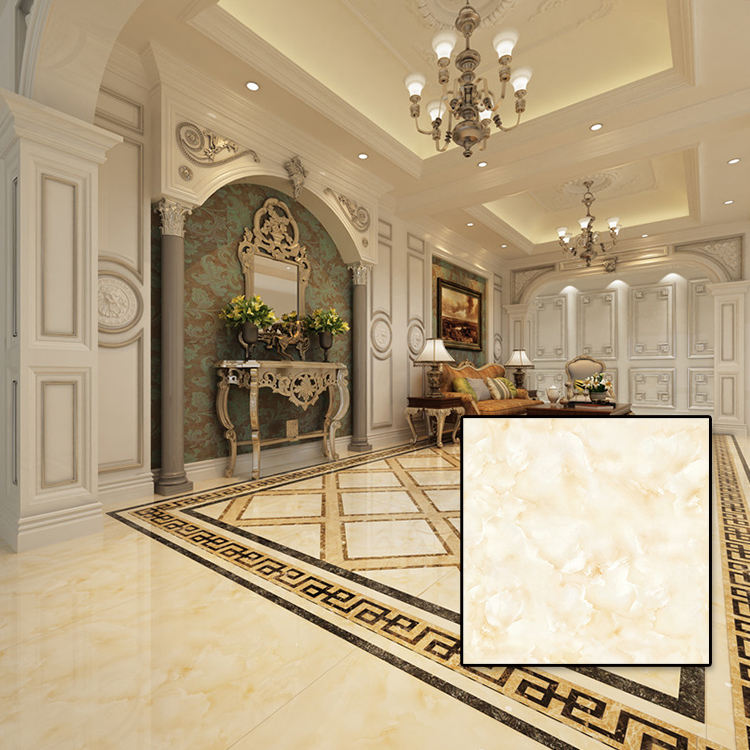 STDC88011 Nature Yellow White Marble Look Cheap Ceramic Floor Tile For Bedroom