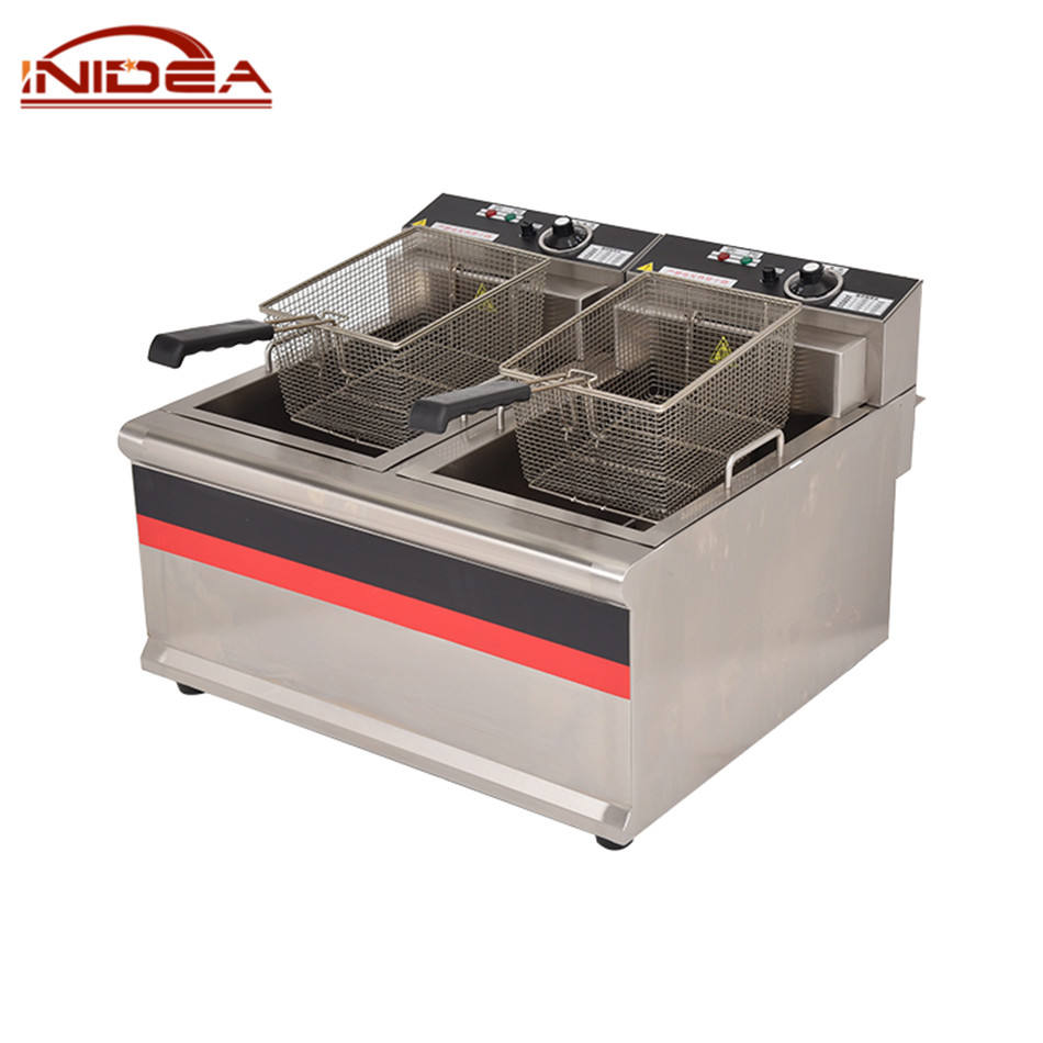 Commercial Kitchen Mini Oil Fryer 2 Basket Potato Chip