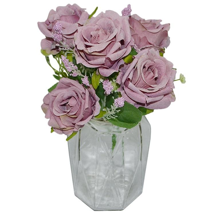 Best Sale Artificial Flower Bundle of 5 Roses Silk Rose flower wedding home party decorative