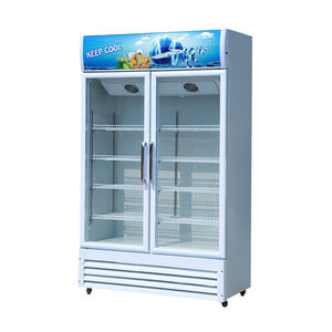 High quality double glass door refrigerator beverage showcase
