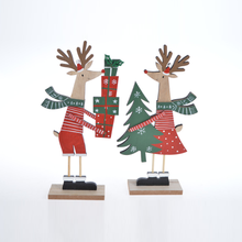 Selling good design Standing Elk home table deco Christmas deer Claus figurines with gift box and tree shape on hand