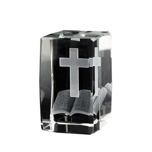 Souvenir Laser Engraved Prayer Cross Gifts 3d crystal cubes religious for Christian wedding favor