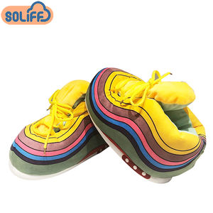 2020 hot-sale custom logo sneaker soft adult size indoor plush rainbow sneaker slippers