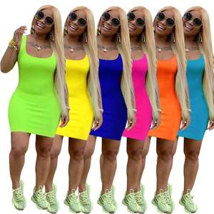 women 2020 summer casual solid basic bandage bodycon dresses