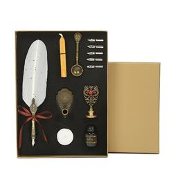 Low price advanced classical fountain set turkey feather quill pen for signature