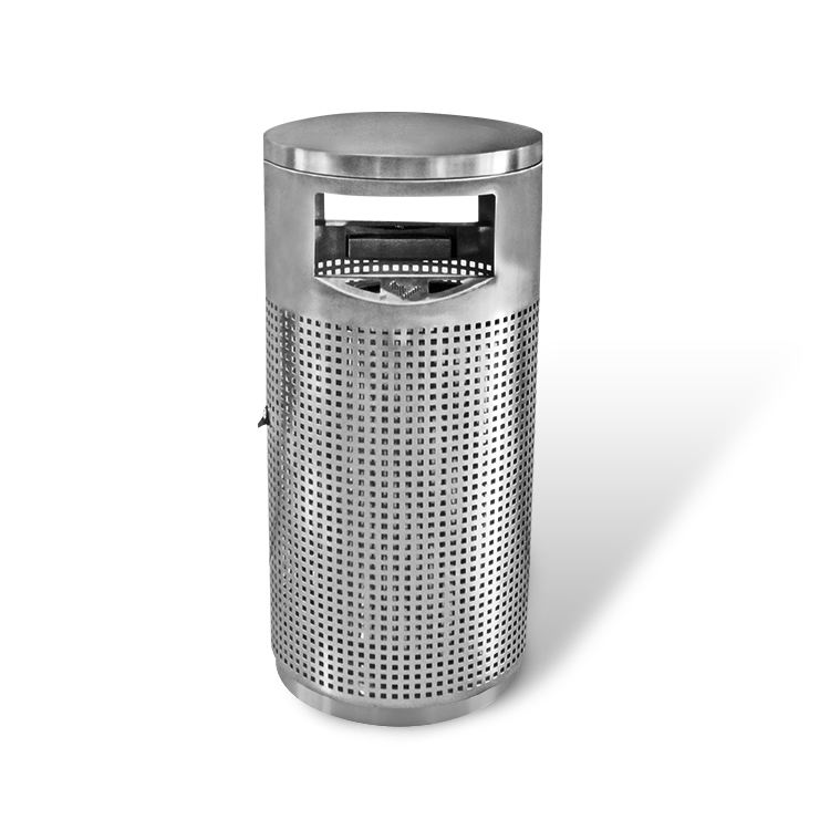 Round Perforated public metal stainless steel rubbish waste dustbin ashtray garbage outdoor trash can bin