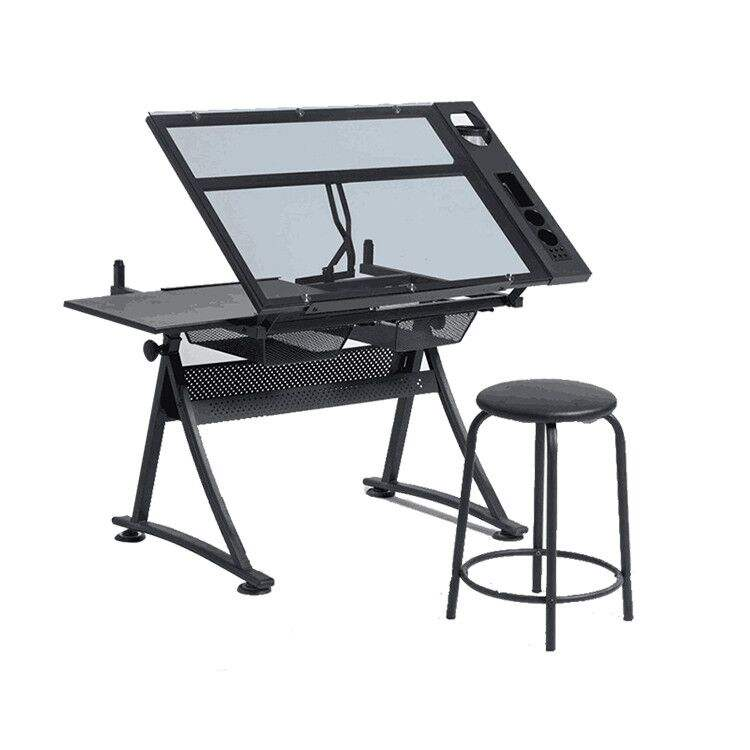 OEM Manufacturer Wholesale Glass Top Art Craft Desk Draft Drawing Table With Vice Drafting Desk