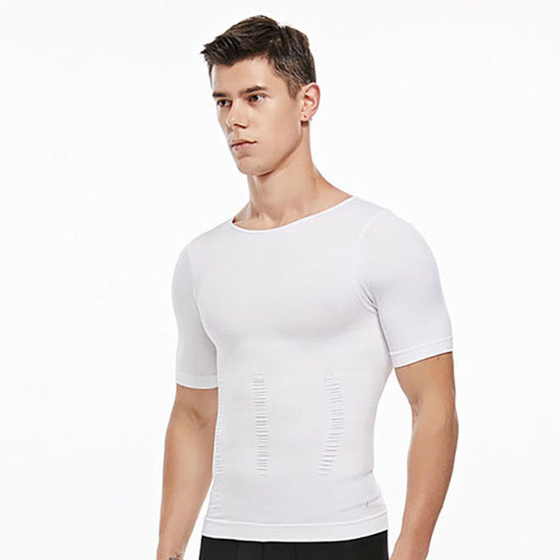 Anti sweat Breathable Sporty workout Fitness Muscular seamless tummy control Elastic shape body vest T shirt white black for men