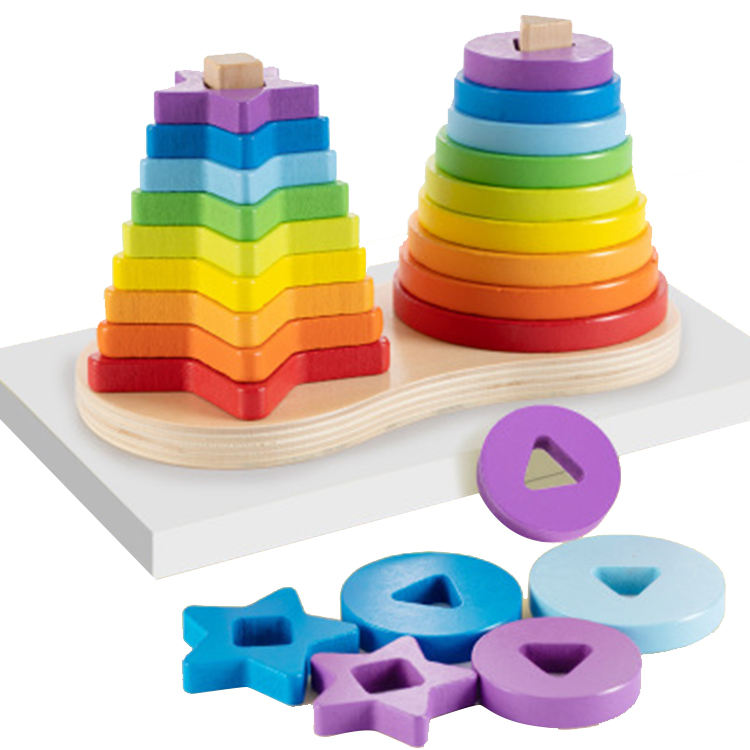 Rainbow Tower Ring Stacker Building Block Baby Educational Toys