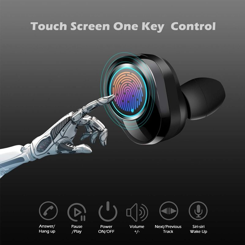 IPX7 Waterproof Wireless Headphone TWS G02 Bluetooth Earbuds Touch Control 3500mAh Battery 6D Stereo Sound Wireless Earphone
