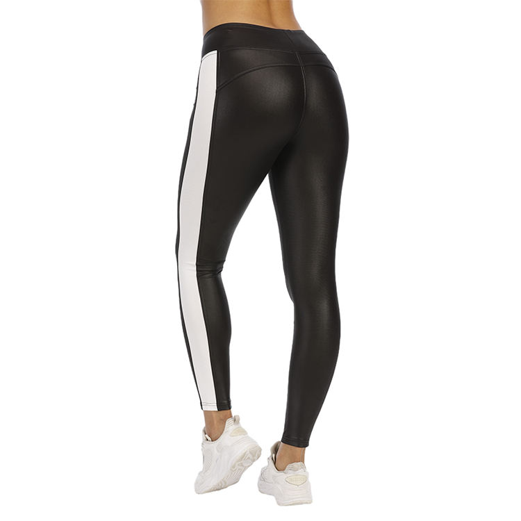 Wholesale OEM ODM Side Mesh Stripe Non See-Through Breathable Shiny Sweat-Wicking Custom Women Sports Tights