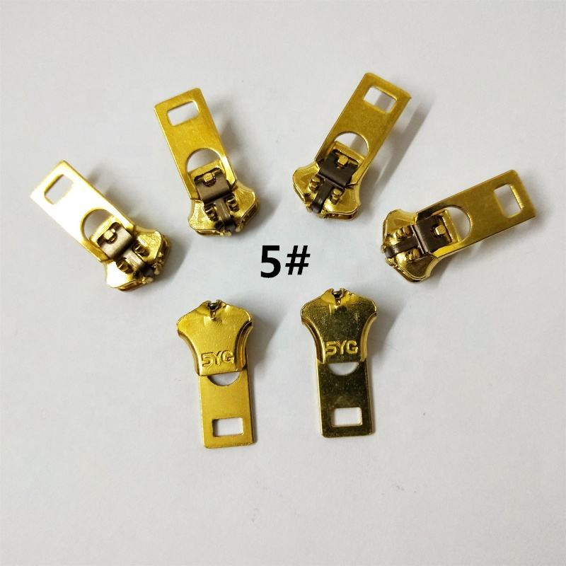 spot wholesale NO.3#4#5# brass copper auto lock YG spring zipper slider puller head pull parts for garment jeans pants