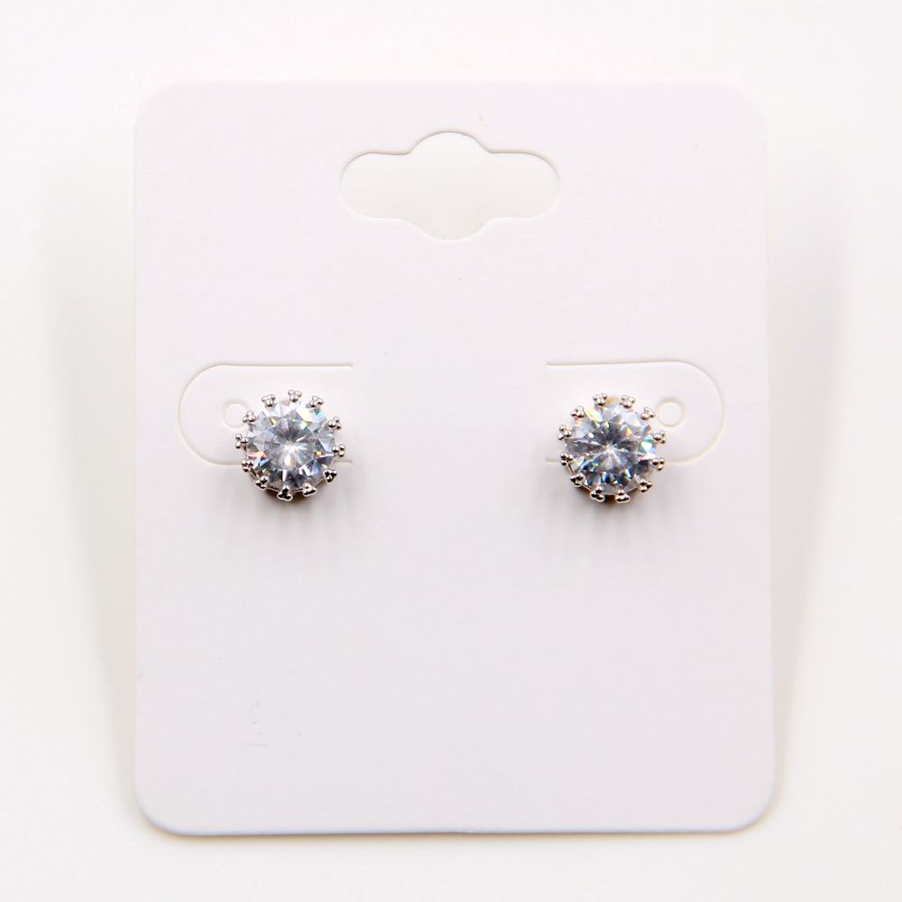 Rose gold rhodium plating single cubic zirconia stone stud earrings for young girls women men gender