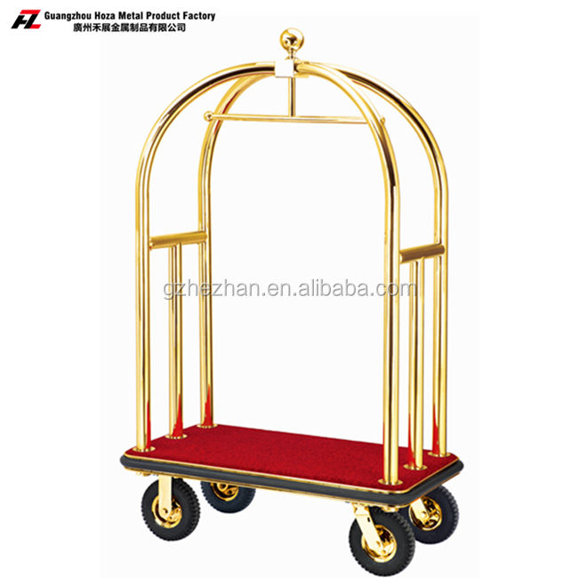 stainless steel with titanium gold coated hotel luggage trolley carts for luggage carrying