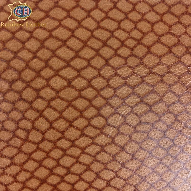CHCBLL0414-1 Good Quality Pale yellow brown Fine-mesh Embossed Pattern Sheep Skin Genuine Leather