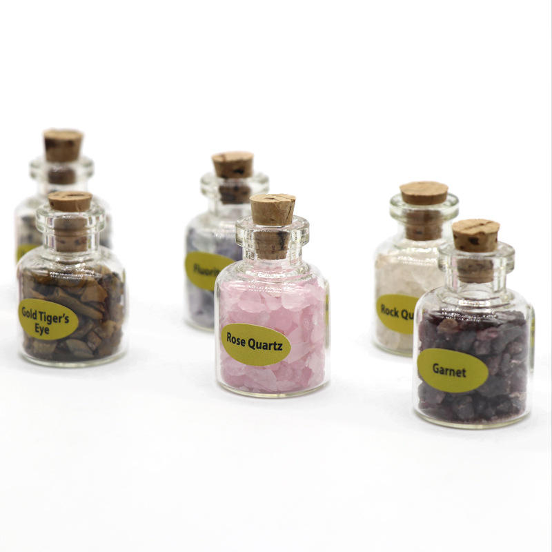 natural crystal gemstone and rock specimens 9 bottles of mineral crystal teaching material wishing bottle