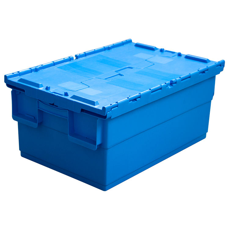 Attached Lid Totes Round Trip Totes nestable heavy duty storage crate with lid