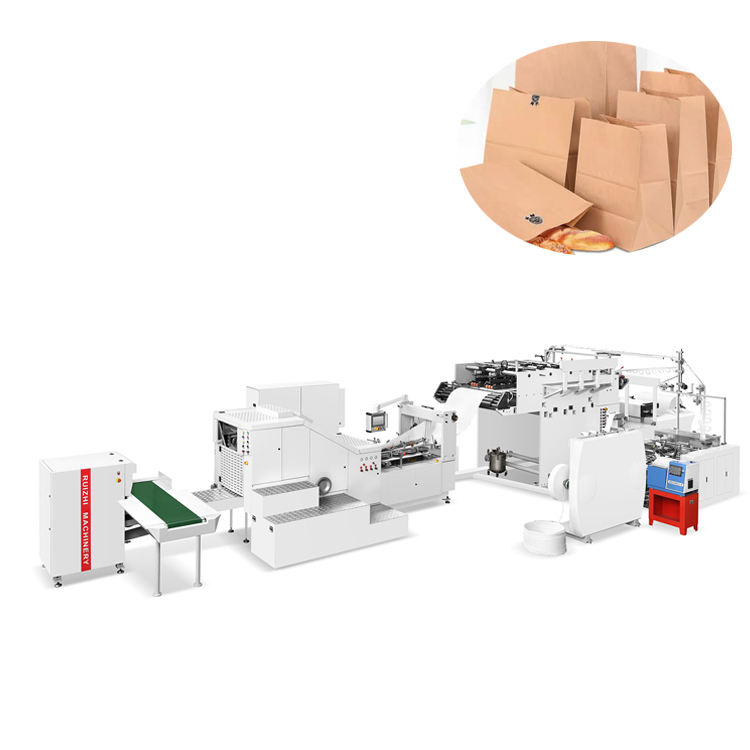 Square bottom paper bag machine with twisted handles inline