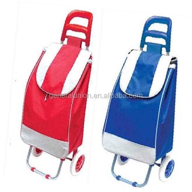 Amazon hot selling folding 600D polyester supermarket store shopping bag shopping trolley cart