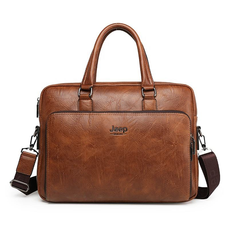 Wholesale Business Waterproof PU leather Men Handbag Messenger Shoulder bag Laptop Briefcase