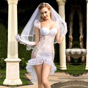 ST292 Hot White Bride Tuxedo skirt Wedding Dress set Veil Baby Doll Cosplay Sexy Lingerie Babydoll Costumes