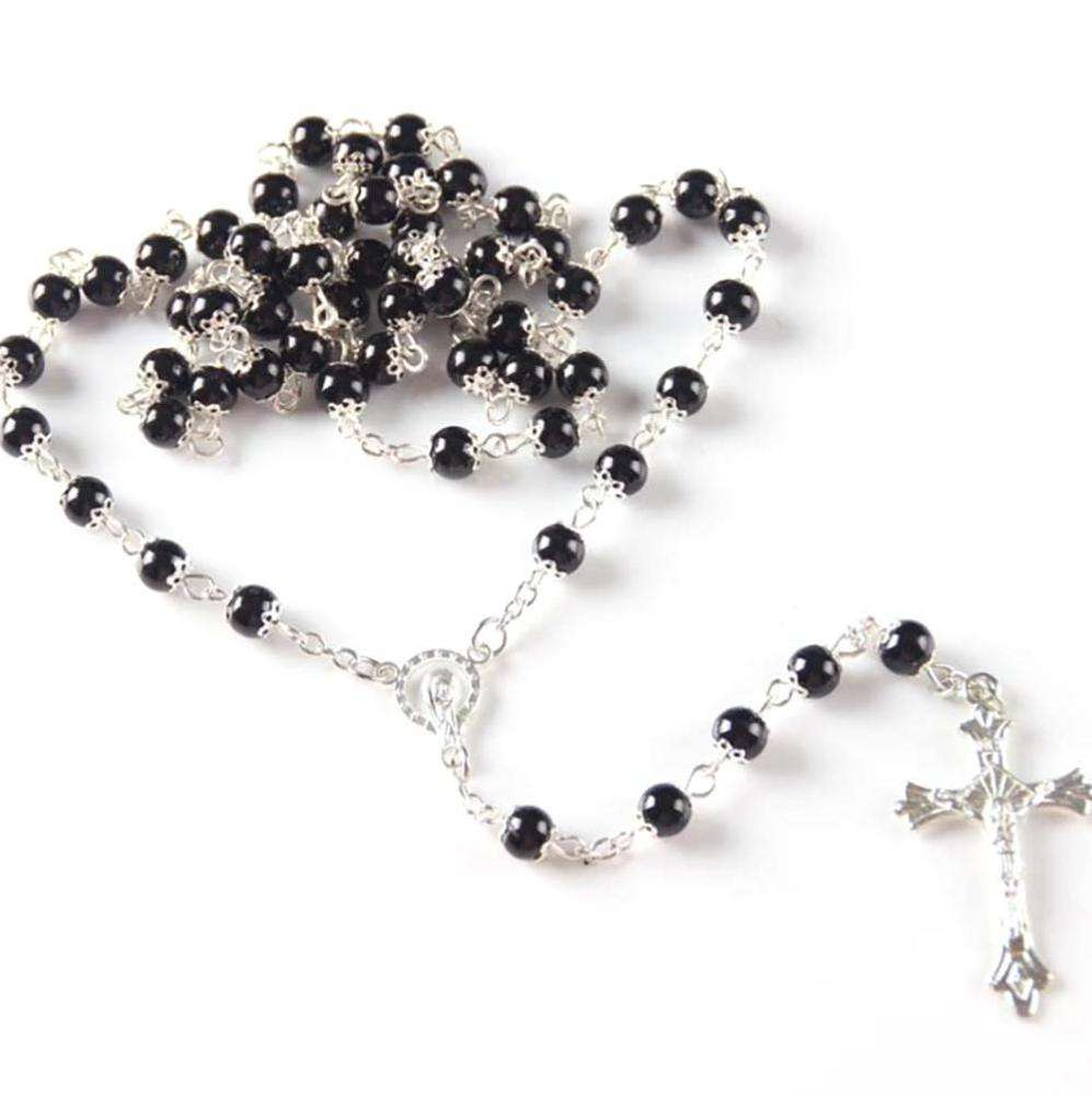 Fashion Cross Wholesale Rosary Acrylic Beads Pearl Rosary Necklace