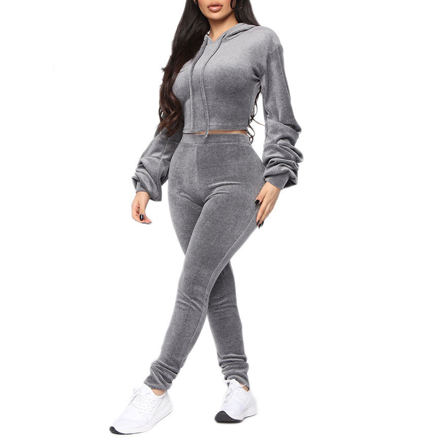 Fashion Crop Top Suit Hooded Sportswear Pullover+Leggings Velvet Women Sweatsuit 2 Piece Set Tracksuit Womens Velours Tracksuit