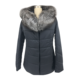 Wholesale fashion cotton hooded jacket lady slim fit short large size cotton sports jacket real fur collar