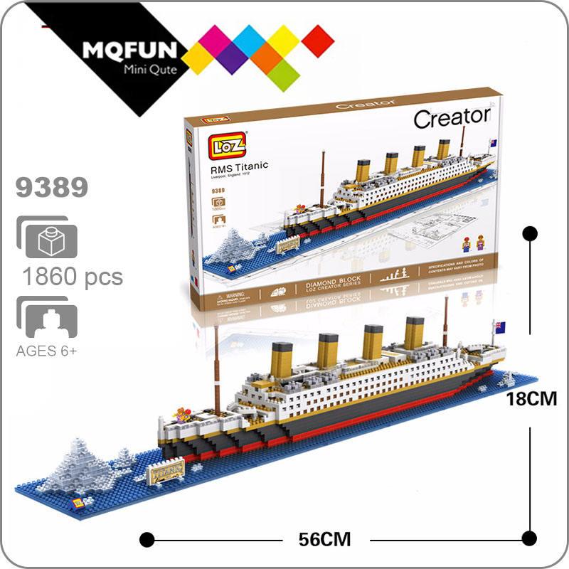 1860Pcs Blocs Créatif 3D Bateau Titanic Croisière Construction Briques Sets