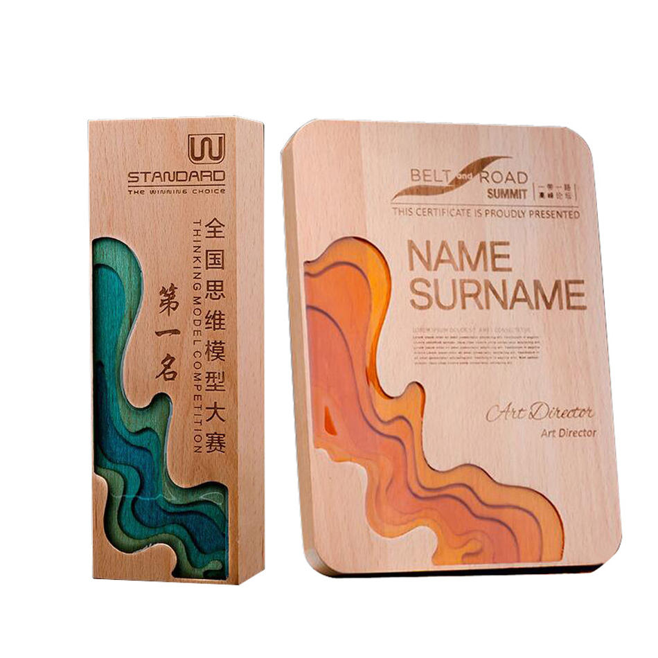Block & Cube Product Type Deep carved Beech trophy custom logo printing on wood art awards Mlsj-jb237