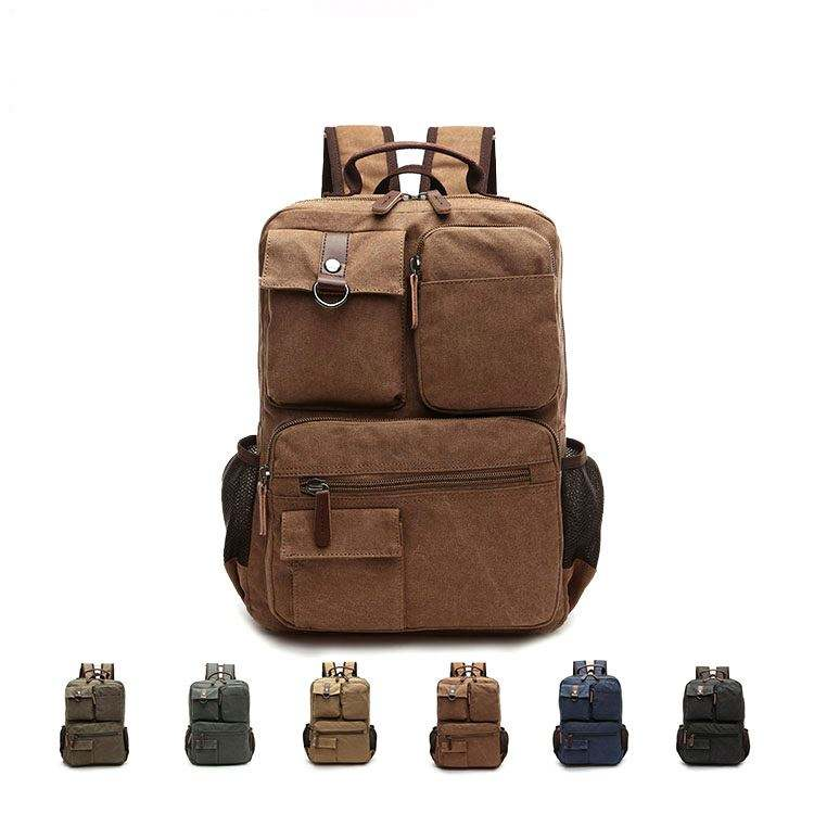 luxury products trending vintage leather laptop backpack canvas rucksack bag at price