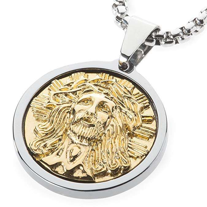 Unique Tungsten Medallion Necklace. Stainless Steel Jesus Christ Inlay with 18kt Gold Plating