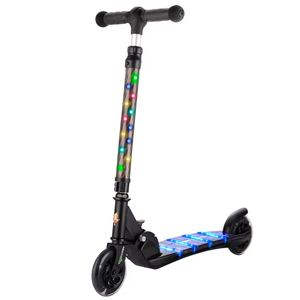 Wholesale foldable two wheel PU flashing wheel kids kick scooter