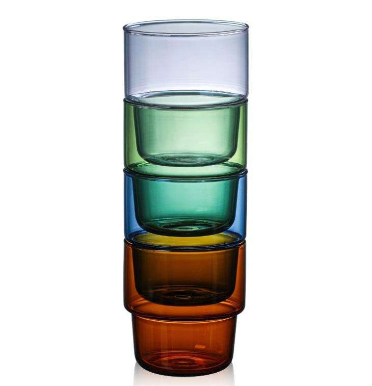 The new stackable high household tea glasses colored milk coffee glass cup