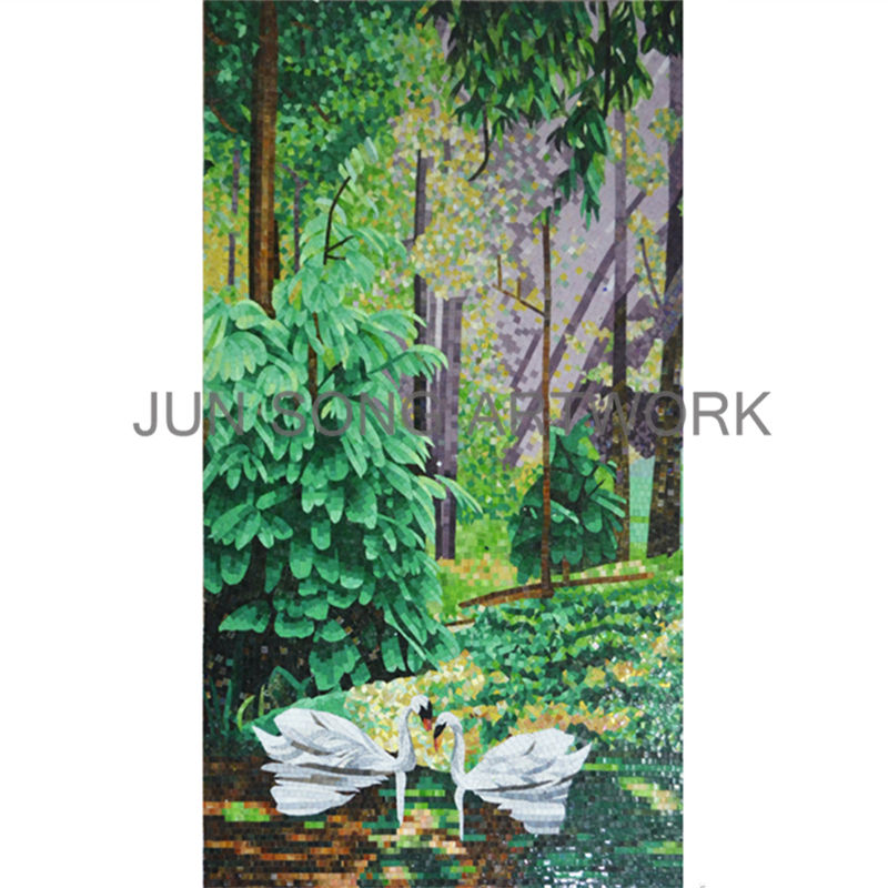 JS MLS-WL07 Swan Lake in the Woodland Wall Mural Handmade Glass Mosaic Art Dining Room Decor Tiles