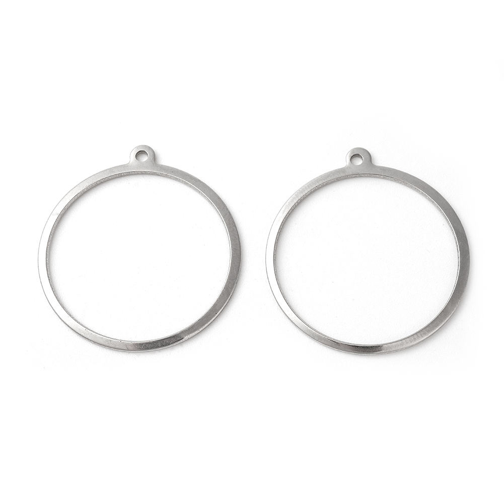 PandaHall Pendants 304 Stainless Steel Ring Stainless Steel Color Charm 27~27.5x25x0.7~1mm Hole 1.4mm
