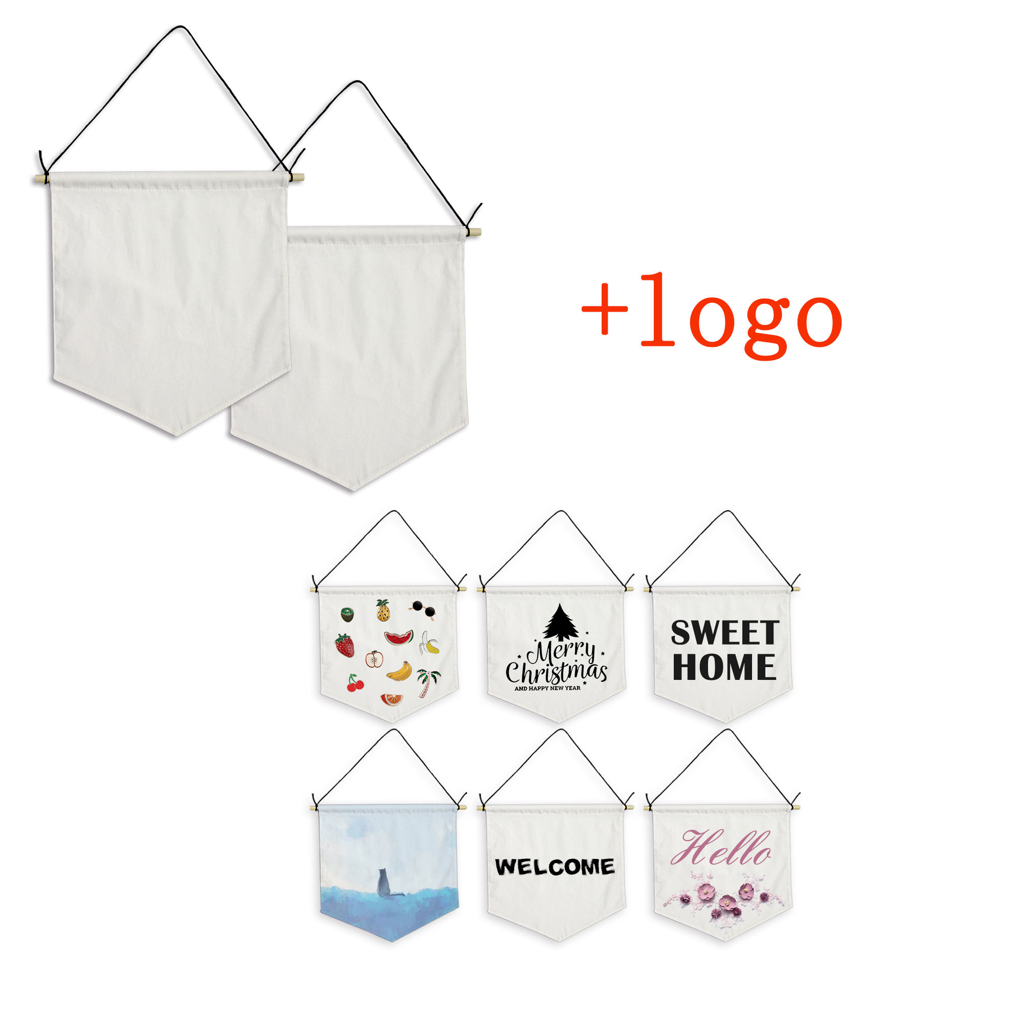 Ready To Ship Custom Logo Sublimated Printing Plain Cotton Canvas Hanging Wall Blank Banner Pennant Flag