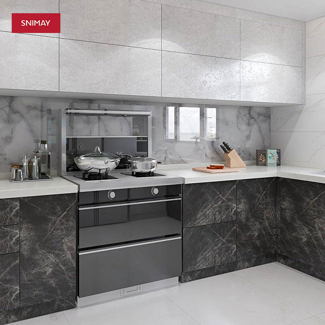Simple Designs Fireproof Kitchen Cabinet Kitchen Interior Cabinet With Artificial Marble
